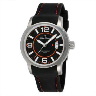 Lucien Piccard Mens Black Strap Orange Stitch Watch