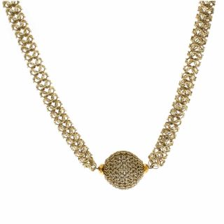NEXTE Jewelry Large Coffee Color Faux Pearl Mesh Necklace