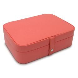 Morelle Kimberly Coral Leather Versatile Jewelry Box