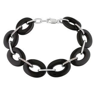Sterling Silver Black Onyx and Diamond Bracelet