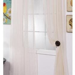 Linen Open Weave Cream 84 inch Sheer Curtain Panel