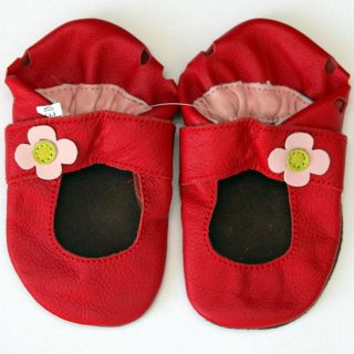 Baby Pie Red Flower Leather Girls Shoes