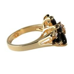 Angelina DAndrea 14k Goldplated Marquise Onyx and Round Crystal
