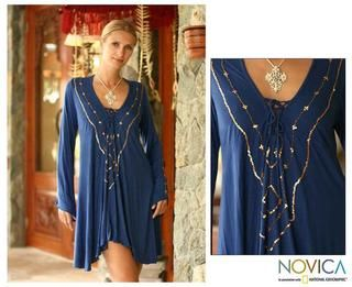 Rayon Exotic Blue Tunic Blouse (Indonesia)