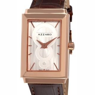 Azzaro Mens Legend Rectangular Rose Gold PVD Leather Strap Watch