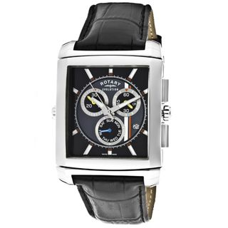 Rotary Mens Evolution TZ2 Black Genuine Leather Watch