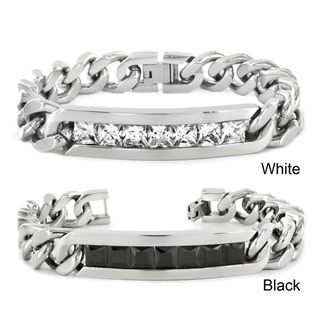 High polish Stainless Steel Channel set Cubic Zirconia ID Bracelet