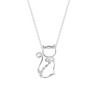 Sterling Silver 18 inch Chain Cubic Zirconia Cat Pendant