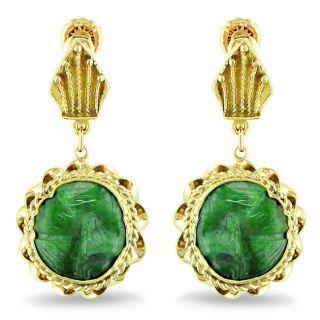 14k Yellow Gold Fancy Green Jade Antique Dangle Earrings