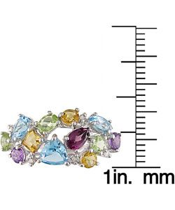 14k White Gold Multi Gemstone Ring