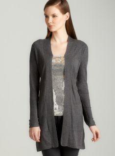 August Silk Shawl collar cardigan in grey