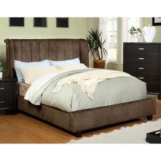 Luxi Dark Brown Queen Size Padded Velvet Platform Bed