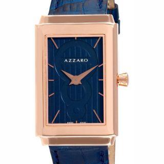 Azzaro Mens Legend Rectangular Rose Gold PVD Blue Strap Watch