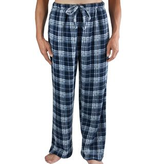 Leisureland Mens Navy Blue Plaid Fleece Pants