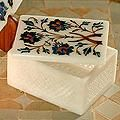 Marble Floral World Heritage Multi gem Inlay Jewelry Box (India)