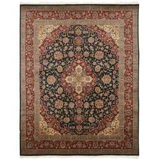 Asian Hand knotted Royal Kerman Navy and Red Wool Rug (8 x 10