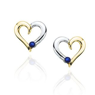 10k Two tone Gold 1/10ct TGW Sapphire Heart Earrings