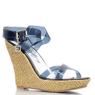 Playboy Womens Strappy Wedge Sandals