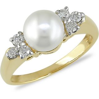 10k Yellow Gold FW Pearl and 1/5ct TDW Diamond Ring (7 7.5 mm