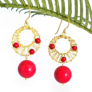 Red Mystery Brass Wire Works Red Coral Ball Dangle Earrings (Thailand