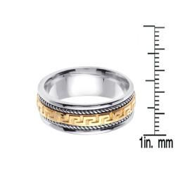 14k Two tone Gold Mens Greek Key Design Wedding Band