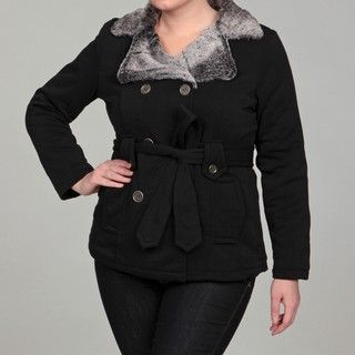 Dollhouse Womens Plus Size Black Faux Fur Belted Jacket