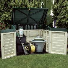 Gerätebox / Aufbewahrungsbox für den Garten beige/grün