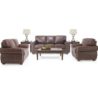 Piece Living Room Package: Leather Sofa, Leather Loveseat and