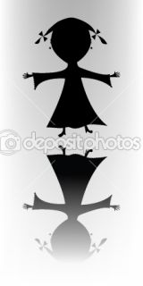Happy little girl ( silhouette)  Stock Vector © Laschon Robert Paul
