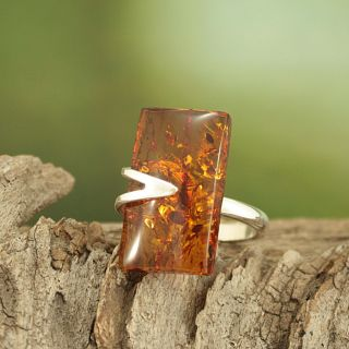 Sterling Silver Freeform Cognac Baltic Amber Ring (Lithuania