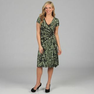 Connected Apparel Womens Floral Print Cap Sleeve Dress