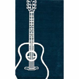 Handmade Luna Guitar Blue Rug (5 x 8)