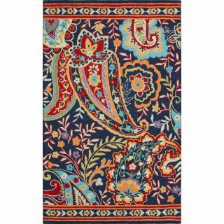 Handmade Paisley Blue Wool Rug (5 x 8)