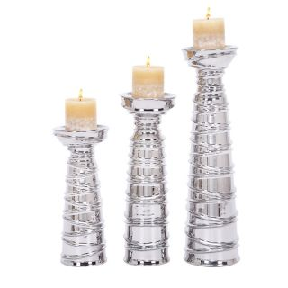 Casa Corter Silver Ceramic Pillar Candle Holders (Set of 3) Today $74