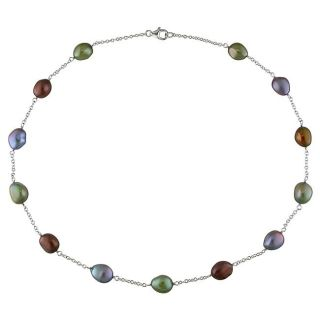 New York Pearls Sterling Silver Multi colored FW Pearl Necklace (7.5 8