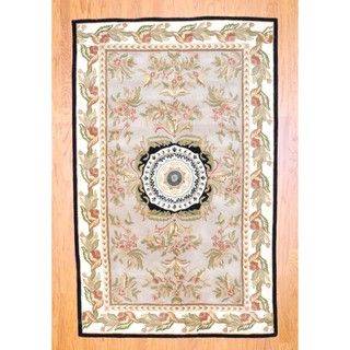 Indo Hand tufted Aubusson Beige Wool Rug (5 x 8)