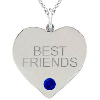 10k Gold September Birthstone Created Sapphire BEST FRIENDS Necklace