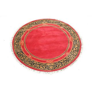 Hand tufted Indo Red/ Black Wool Rug (6 Round)