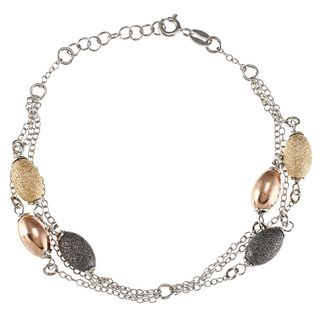 La Preciosa Sterling Silver Multi chain Black, Gold plated, and Rose