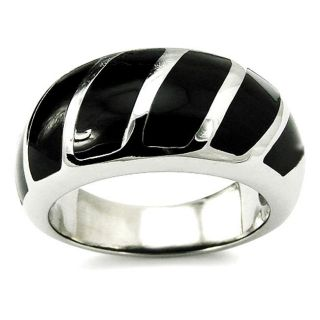 Stainless Steel Black Resin Inlay Cocktail Ring