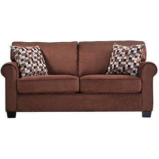 Portfolio Ali Apartment Size Dark Brown Microfiber Sofa with Accent