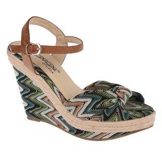 Elegant by Beston Womens Lucky 1 Zig Zag Low Platform Wedge Sandals