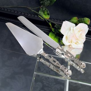 Bride & Groom Love Cake Knife & Serving Set