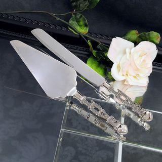 Bride & Groom Love Cake Knife & Serving Set