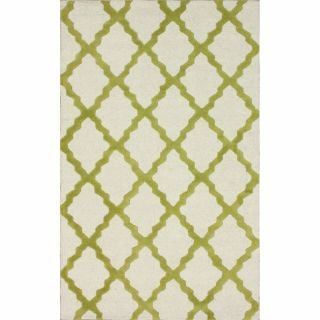 Hand hooked Alexa Moroccan Trellis Green Wool Rug (5 x 8