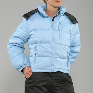 Sportscaster Womens Cornflower Blue Hooded Down Jacket