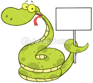 Happy Snake Holding Up A Blank Sign  Stock Photo © HitToon #13964946