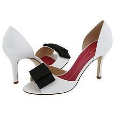 Kate Spade Gina White Patent, Black Grosgrain Pumps/Heels