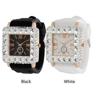 Geneva Platinum Womens Rhinestone accented Silicone Watch