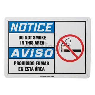 Accuform Signs SBMSMK828MVA Notice No Smoking Sign, 10 x 14In, AL, SURF
